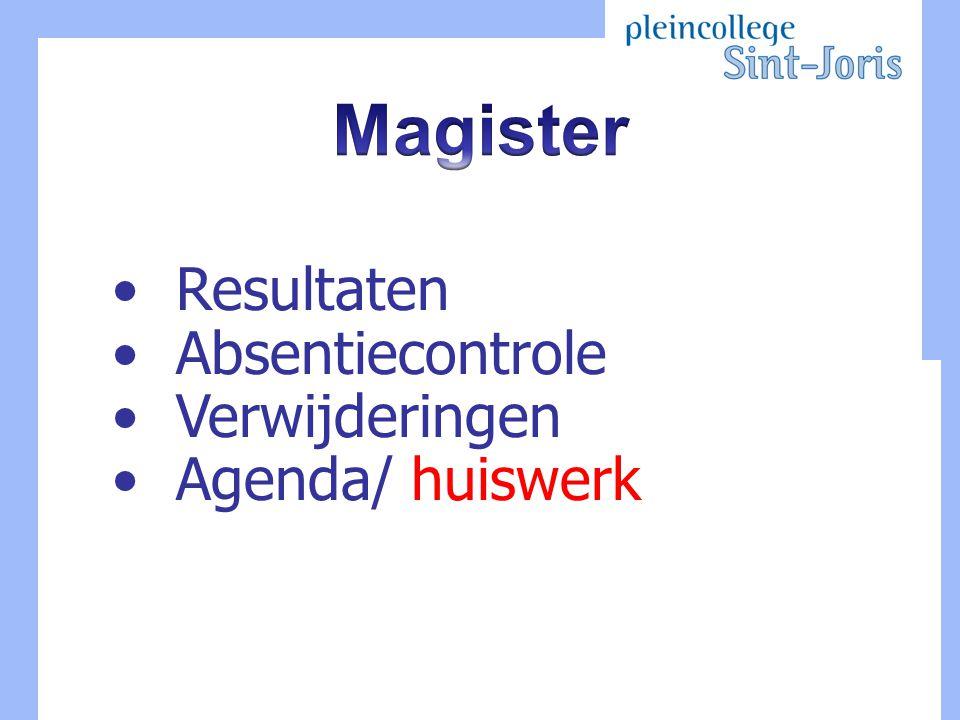 Resultaten Absentiecontrole Verwijderingen Agenda/ huiswerk