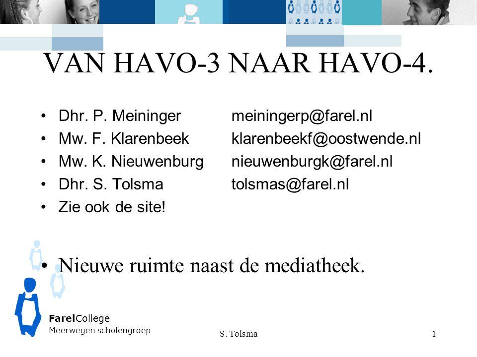 FarelCollege Meerwegen scholengroep VAN HAVO-3 NAAR HAVO-4. Dhr. P. Meiningermeiningerp@farel.nl Mw. F. Klarenbeekklarenbeekf@oostwende.nl Mw. K. Nieu
