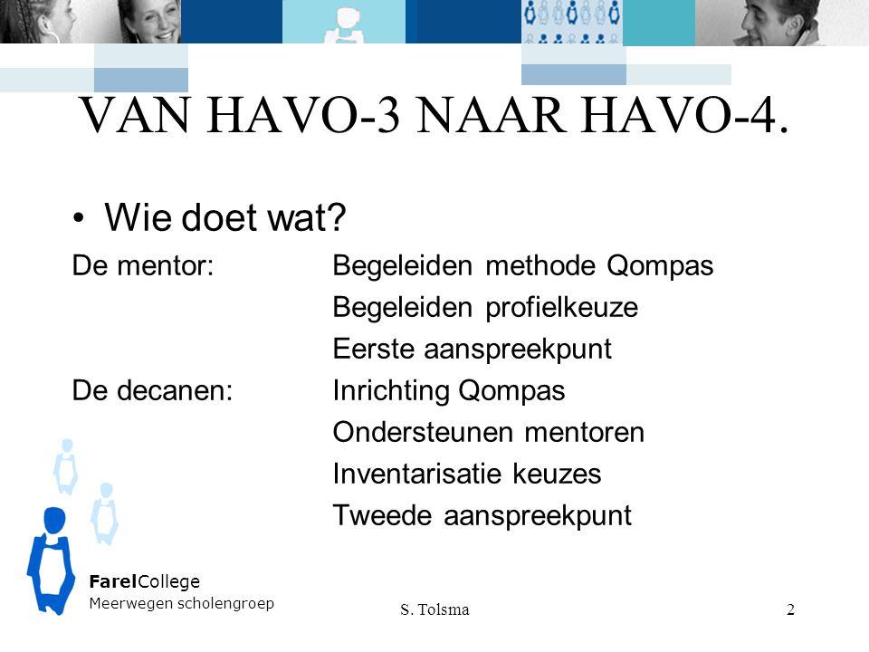 FarelCollege Meerwegen scholengroep VAN HAVO-3 NAAR HAVO-4. S. Tolsma 2 Wie doet wat? De mentor:Begeleiden methode Qompas Begeleiden profielkeuze Eers