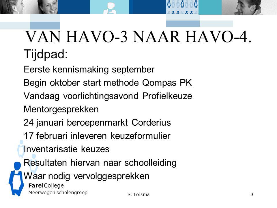 FarelCollege Meerwegen scholengroep VAN HAVO-3 NAAR HAVO-4. S. Tolsma 3 Tijdpad: Eerste kennismaking september Begin oktober start methode Qompas PK V