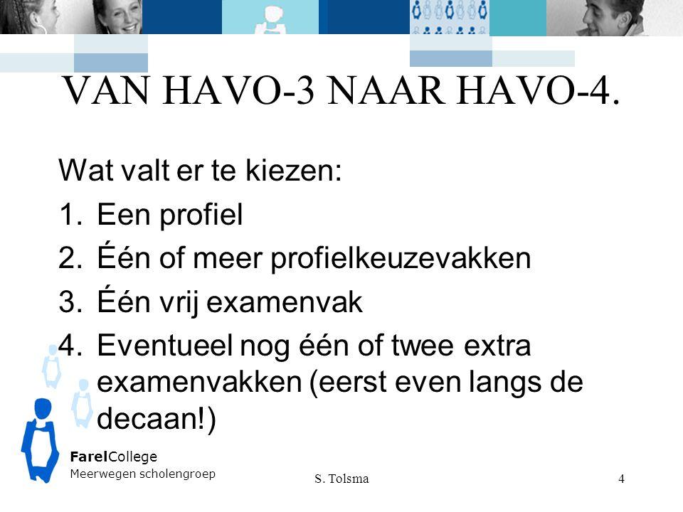 VAN HAVO-3 NAAR HAVO-4. S. Tolsma FarelCollege Meerwegen scholengroep 4 Wat valt er te kiezen: 1.Een profiel 2.Één of meer profielkeuzevakken 3.Één vr