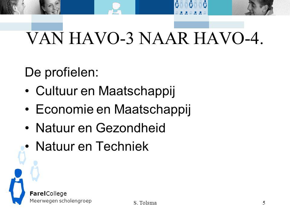 VAN HAVO-3 NAAR HAVO-4. S. Tolsma FarelCollege Meerwegen scholengroep 5 De profielen: Cultuur en Maatschappij Economie en Maatschappij Natuur en Gezon