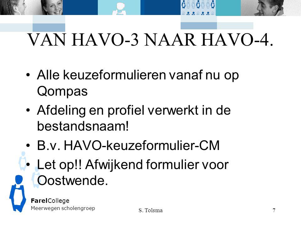 VAN HAVO-3 NAAR HAVO-4. S. Tolsma FarelCollege Meerwegen scholengroep 7 Alle keuzeformulieren vanaf nu op Qompas Afdeling en profiel verwerkt in de be