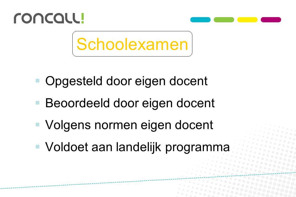 Schoolexamen  Opgesteld door eigen docent  Beoordeeld door eigen docent  Volgens normen eigen docent  Voldoet aan landelijk programma