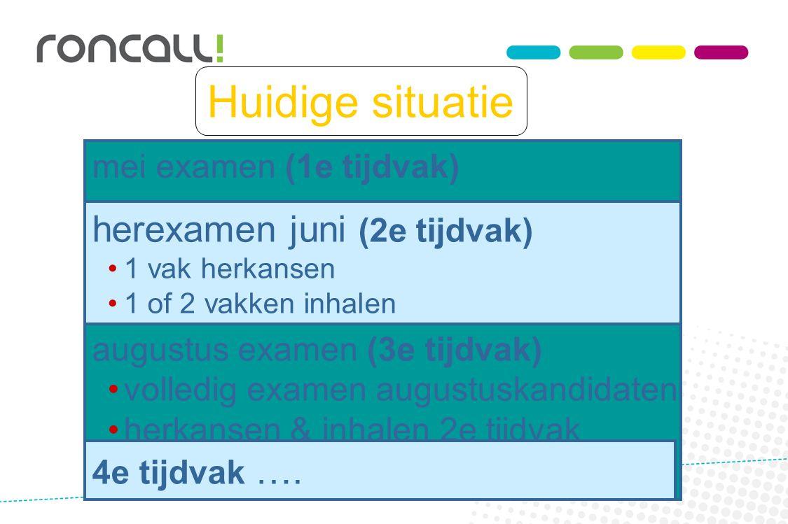 Huidige situatie mei examen (1e tijdvak) herexamen juni (2e tijdvak) 1 vak herkansen 1 of 2 vakken inhalen augustus examen (3e tijdvak) volledig exame