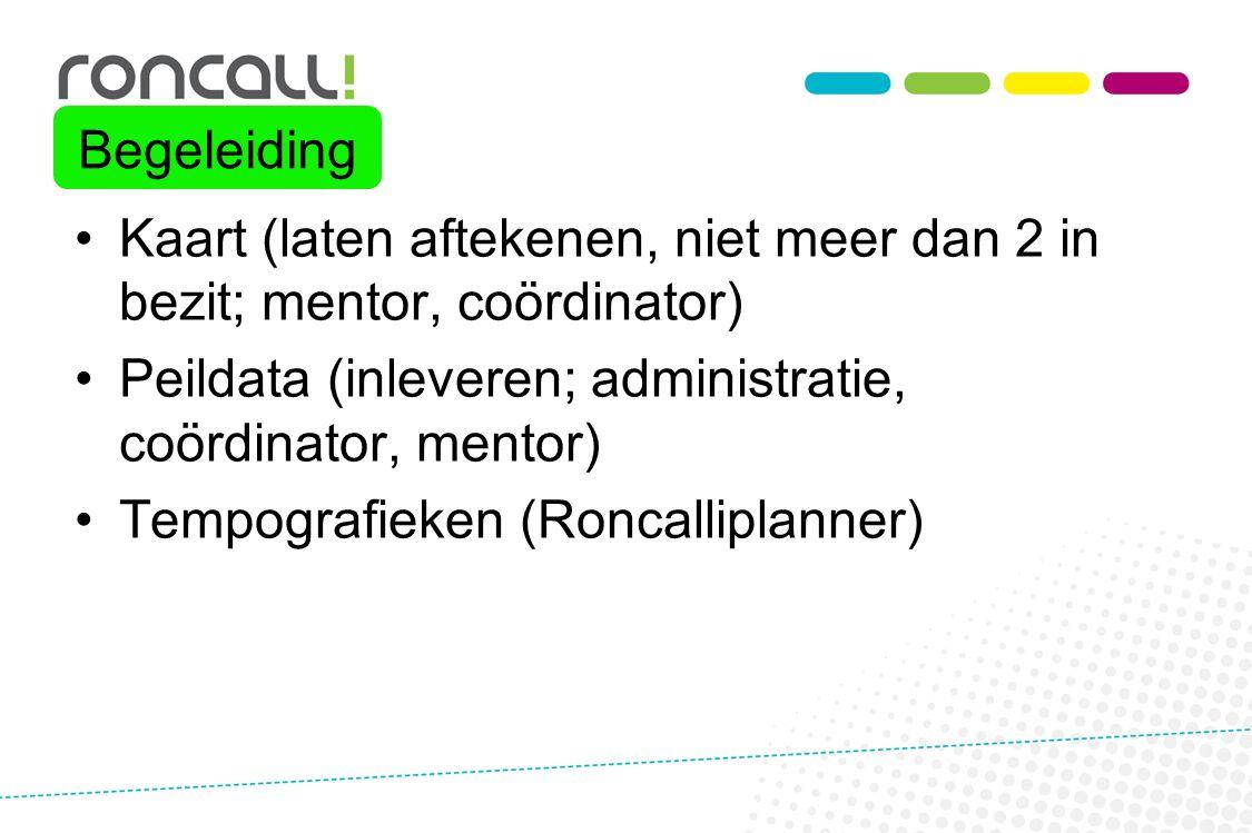Kaart (laten aftekenen, niet meer dan 2 in bezit; mentor, coördinator) Peildata (inleveren; administratie, coördinator, mentor) Tempografieken (Roncal