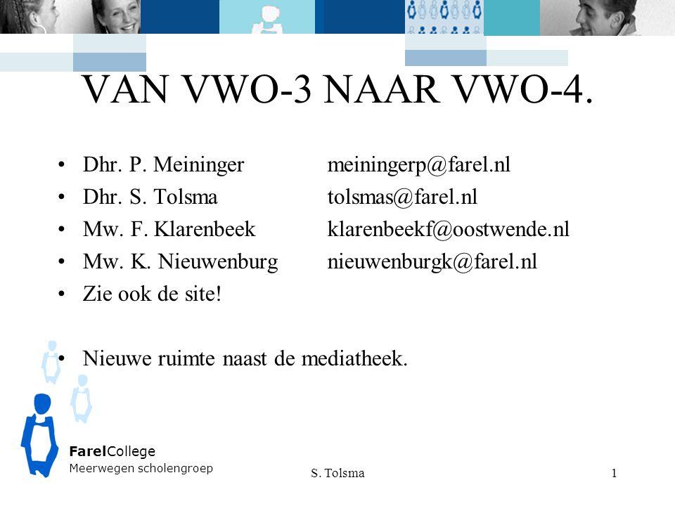 VAN VWO-3 NAAR VWO-4. Dhr. P. Meiningermeiningerp@farel.nl Dhr. S. Tolsmatolsmas@farel.nl Mw. F. Klarenbeekklarenbeekf@oostwende.nl Mw. K. Nieuwenburg