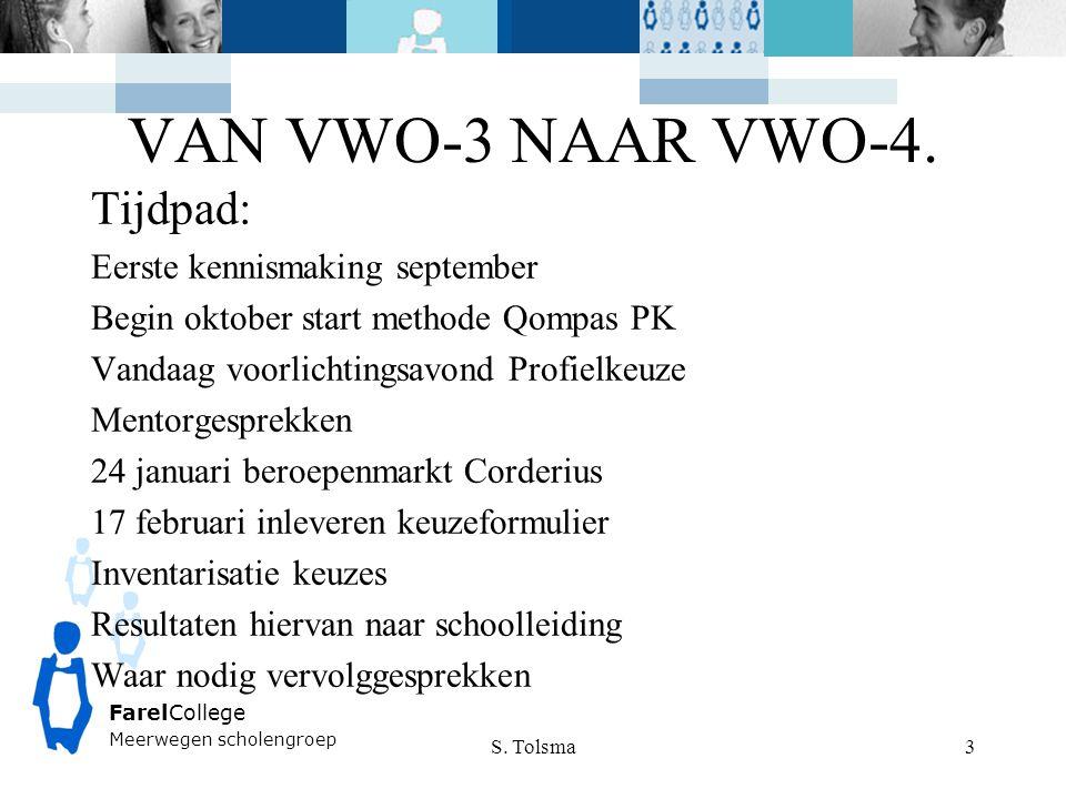 VAN VWO-3 NAAR VWO-4. Tijdpad: Eerste kennismaking september Begin oktober start methode Qompas PK Vandaag voorlichtingsavond Profielkeuze Mentorgespr