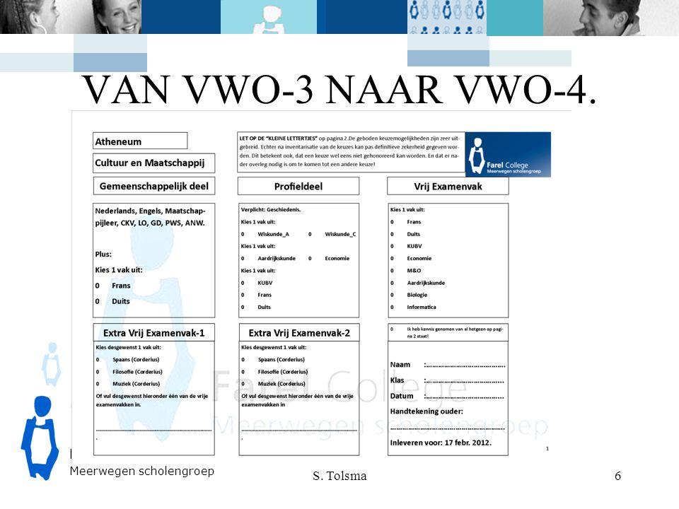 FarelCollege Meerwegen scholengroep VAN VWO-3 NAAR VWO-4. S. Tolsma 6
