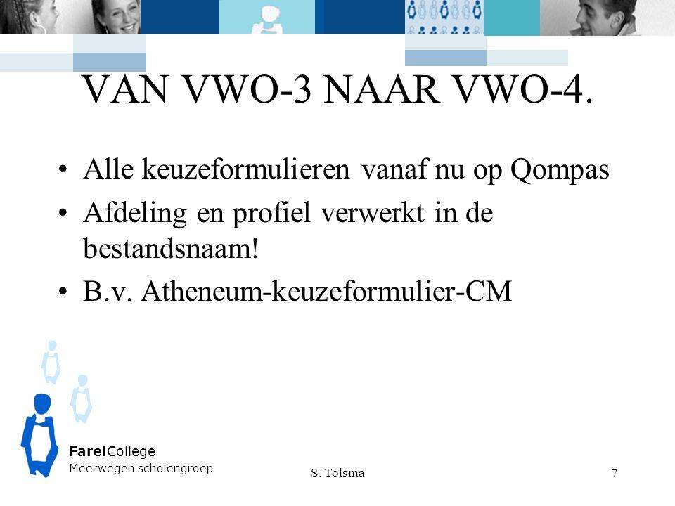 VAN VWO-3 NAAR VWO-4. Alle keuzeformulieren vanaf nu op Qompas Afdeling en profiel verwerkt in de bestandsnaam! B.v. Atheneum-keuzeformulier-CM S. Tol