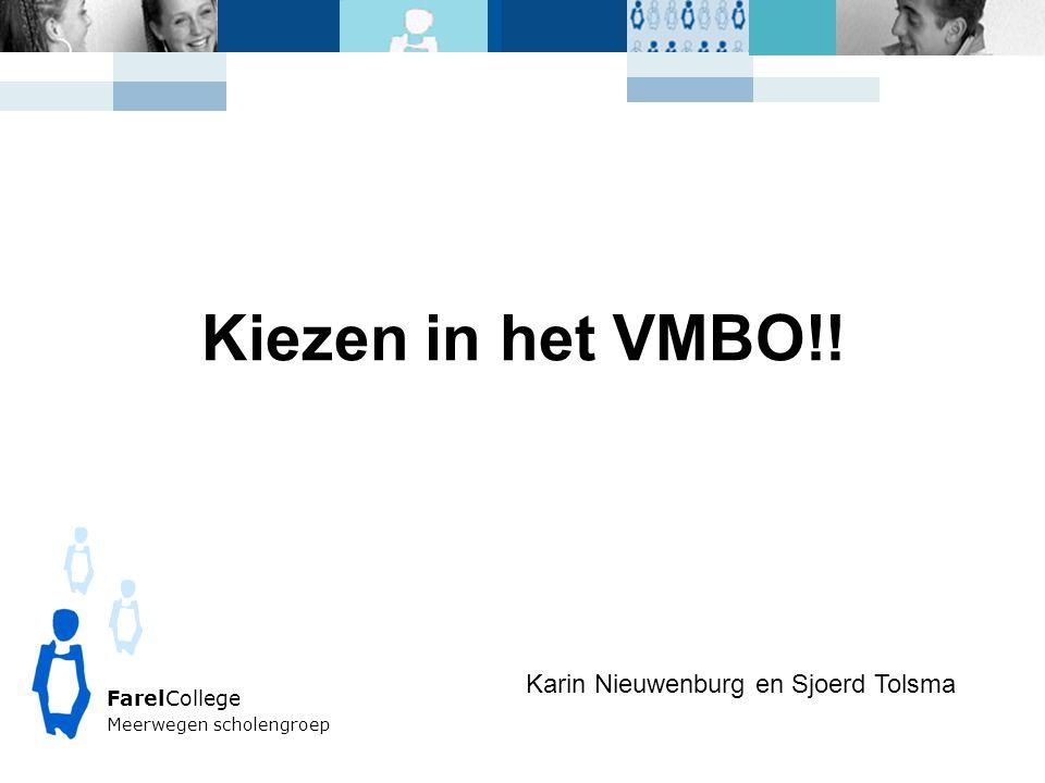 FarelCollege Meerwegen scholengroep Kiezen in het VMBO!! Karin Nieuwenburg en Sjoerd Tolsma