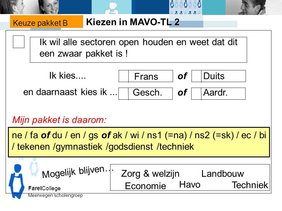 FarelCollege Meerwegen scholengroep Keuze pakket B Mijn pakket is daarom: ne / fa of du / en / gs of ak / wi / ns1 (=na) / ns2 (=sk) / ec / bi / tekenen /gymnastiek /godsdienst /techniek Zorg & welzijn Economie Mogelijk blijven… Ik wil alle sectoren open houden en weet dat dit een zwaar pakket is .