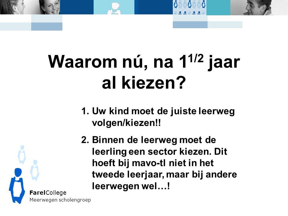 FarelCollege Meerwegen scholengroep Waarom nú, na 1 1/2 jaar al kiezen.