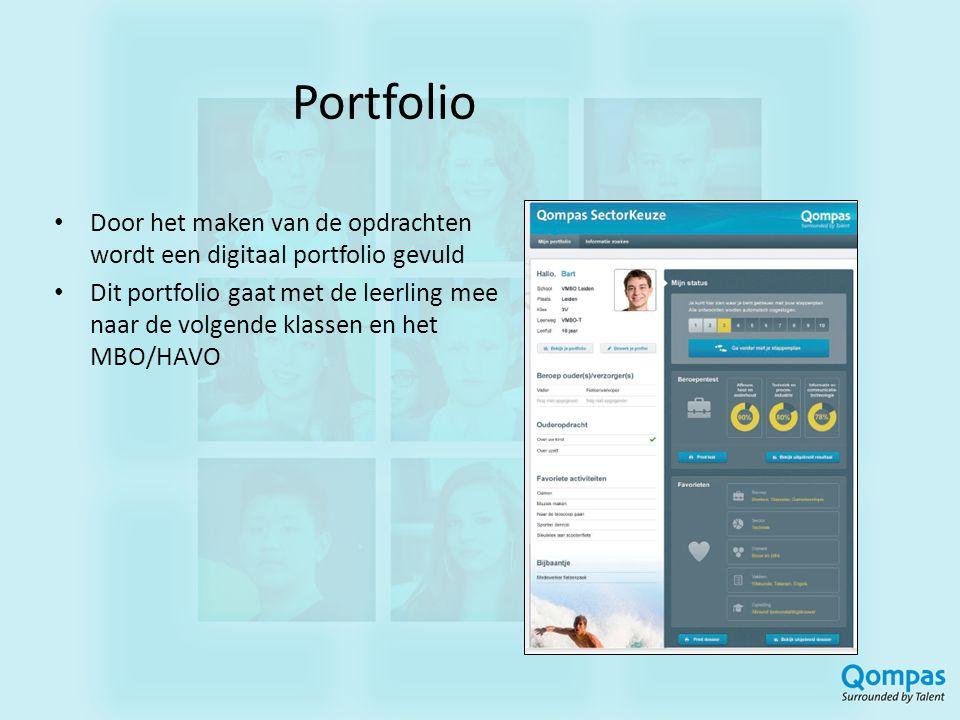 Portfolio Door het maken van de opdrachten wordt een digitaal portfolio gevuld Dit portfolio gaat met de leerling mee naar de volgende klassen en het MBO/HAVO