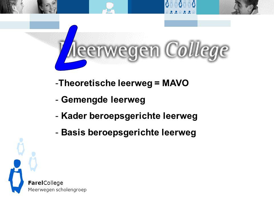 FarelCollege Meerwegen scholengroep -Theoretische leerweg = MAVO - Gemengde leerweg - Kader beroepsgerichte leerweg - Basis beroepsgerichte leerweg