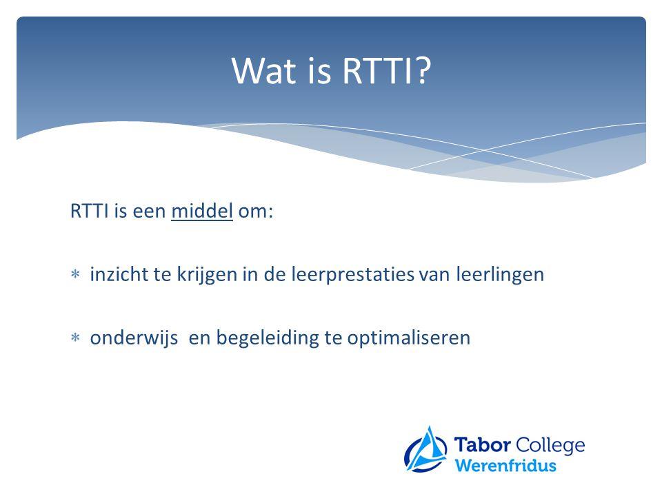 Wat is RTTI? RTTI is een middel om:  inzicht te krijgen in de leerprestaties van leerlingen  onderwijs en begeleiding te optimaliseren