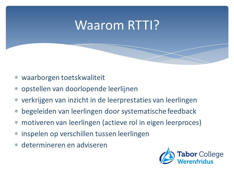 Waarom RTTI?  waarborgen toetskwaliteit  opstellen van doorlopende leerlijnen  verkrijgen van inzicht in de leerprestaties van leerlingen  begelei