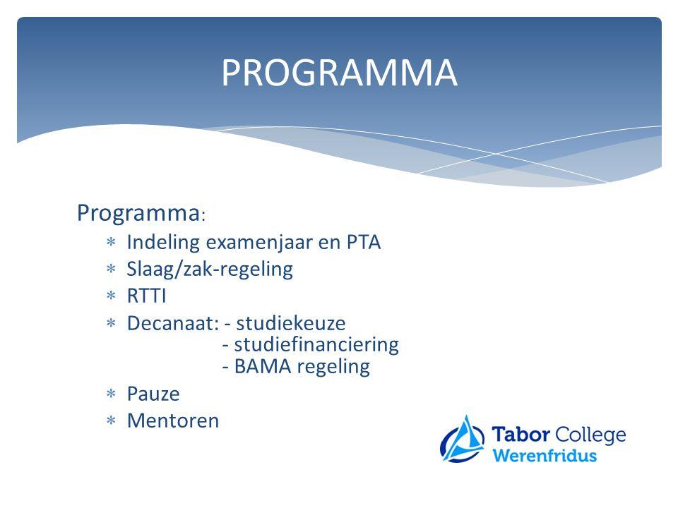 Programma :  Indeling examenjaar en PTA  Slaag/zak-regeling  RTTI  Decanaat: - studiekeuze - studiefinanciering - BAMA regeling  Pauze  Mentoren