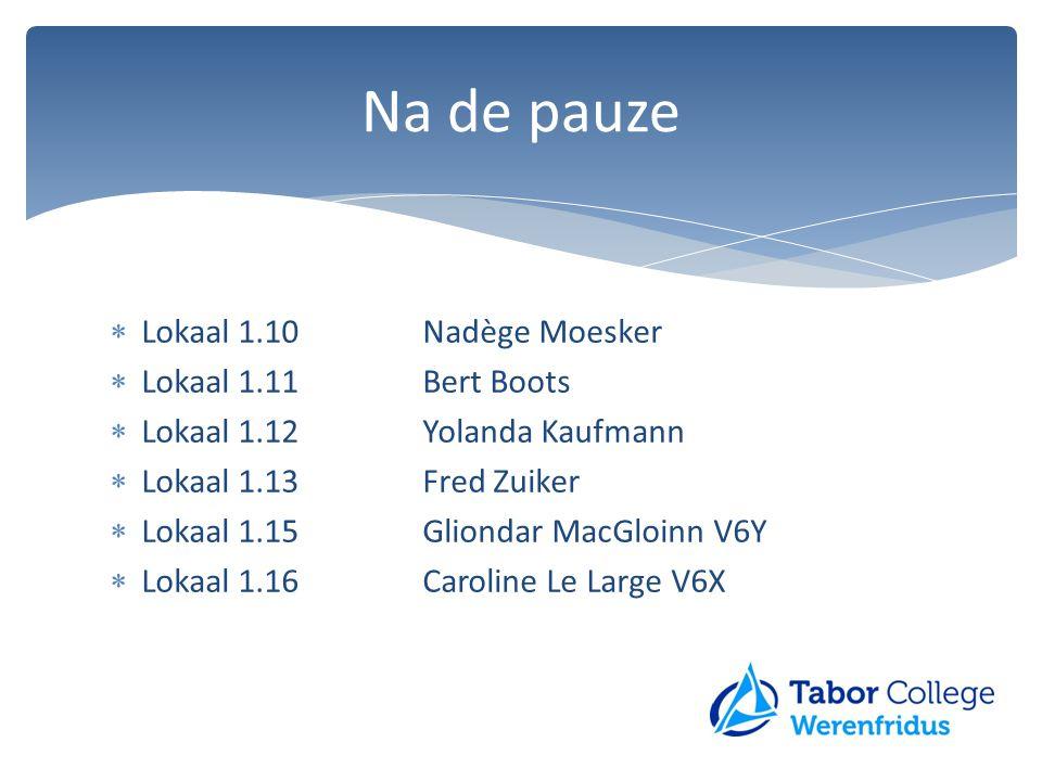  Lokaal 1.10Nadège Moesker  Lokaal 1.11Bert Boots  Lokaal 1.12Yolanda Kaufmann  Lokaal 1.13Fred Zuiker  Lokaal 1.15Gliondar MacGloinn V6Y  Lokaa