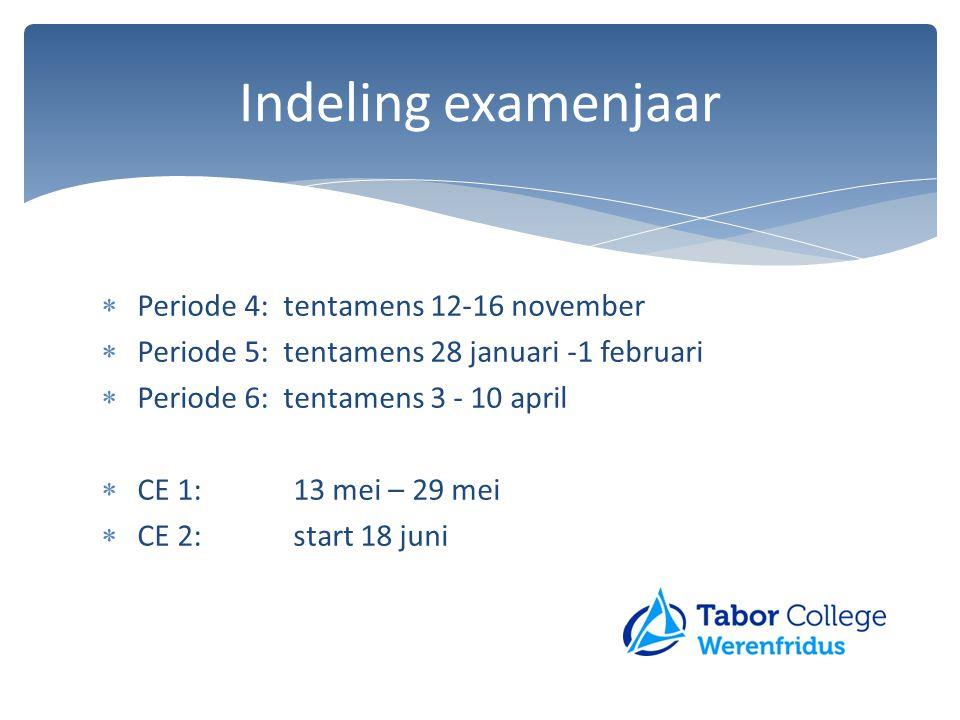  Periode 4: tentamens 12-16 november  Periode 5: tentamens 28 januari -1 februari  Periode 6: tentamens 3 - 10 april  CE 1:13 mei – 29 mei  CE 2: