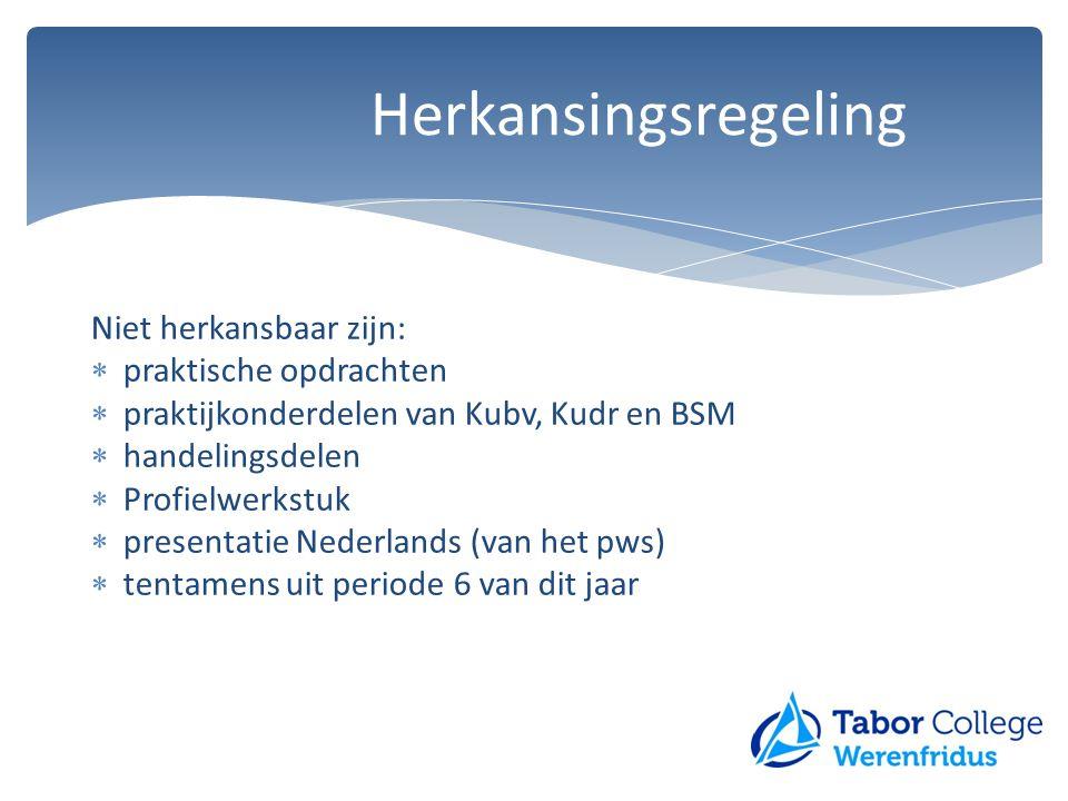 Niet herkansbaar zijn:  praktische opdrachten  praktijkonderdelen van Kubv, Kudr en BSM  handelingsdelen  Profielwerkstuk  presentatie Nederlands