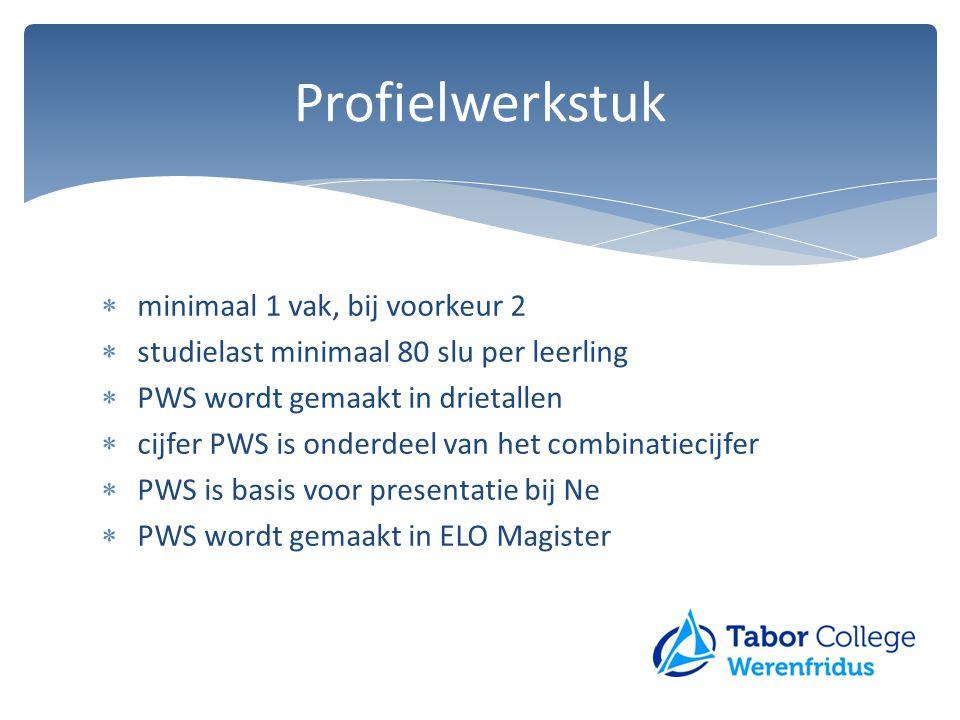  minimaal 1 vak, bij voorkeur 2  studielast minimaal 80 slu per leerling  PWS wordt gemaakt in drietallen  cijfer PWS is onderdeel van het combina