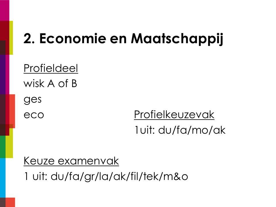 2. Economie en Maatschappij Profieldeel wisk A of B ges ecoProfielkeuzevak 1uit: du/fa/mo/ak Keuze examenvak 1 uit: du/fa/gr/la/ak/fil/tek/m&o