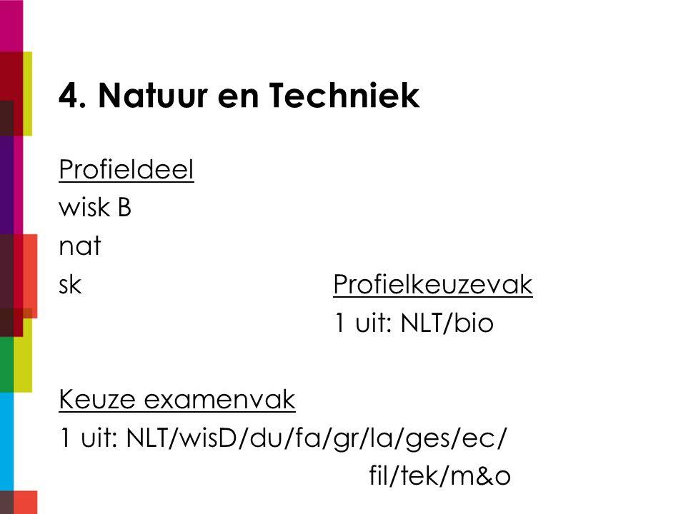 4. Natuur en Techniek Profieldeel wisk B nat skProfielkeuzevak 1 uit: NLT/bio Keuze examenvak 1 uit: NLT/wisD/du/fa/gr/la/ges/ec/ fil/tek/m&o