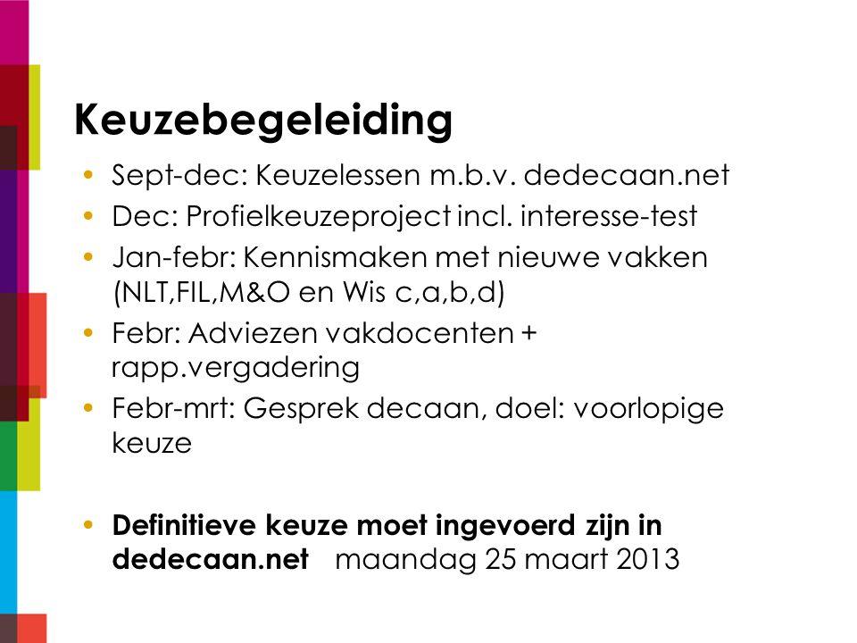 Keuzebegeleiding Sept-dec: Keuzelessen m.b.v. dedecaan.net Dec: Profielkeuzeproject incl.