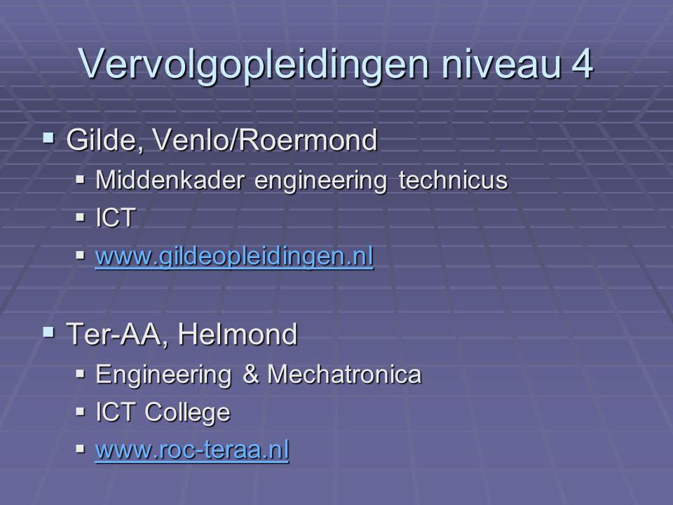 Vervolgopleidingen niveau 4  Gilde, Venlo/Roermond  Middenkader engineering technicus  ICT  www.gildeopleidingen.nl www.gildeopleidingen.nl  Ter-