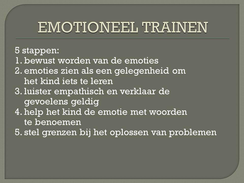 5 stappen: 1.bewust worden van de emoties 2.