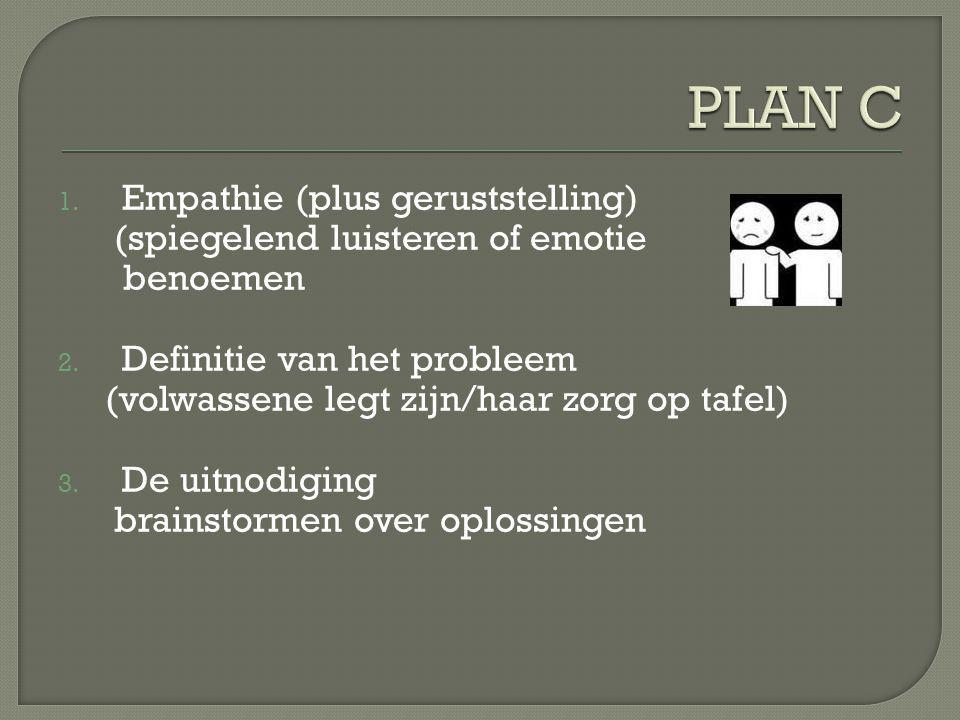 1.Empathie (plus geruststelling) (spiegelend luisteren of emotie benoemen 2.