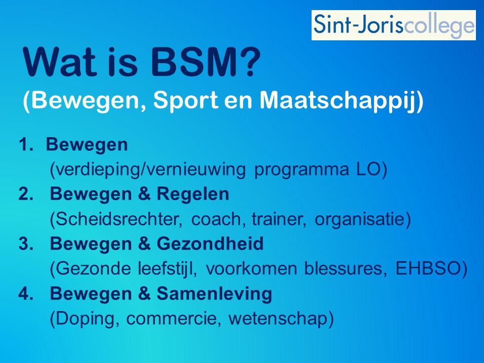 Wat is BSM? (Bewegen, Sport en Maatschappij) 1.Bewegen (verdieping/vernieuwing programma LO) 2. Bewegen & Regelen (Scheidsrechter, coach, trainer, org