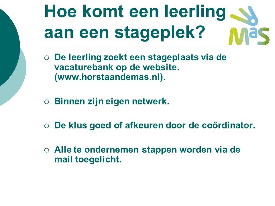 Hoe komt een leerling aan een stageplek?  De leerling zoekt een stageplaats via de vacaturebank op de website. (www.horstaandemas.nl).www.horstaandem