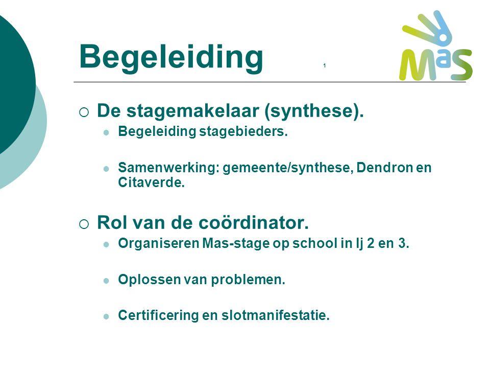Begeleiding 1  De stagemakelaar (synthese). Begeleiding stagebieders. Samenwerking: gemeente/synthese, Dendron en Citaverde.  Rol van de coördinator
