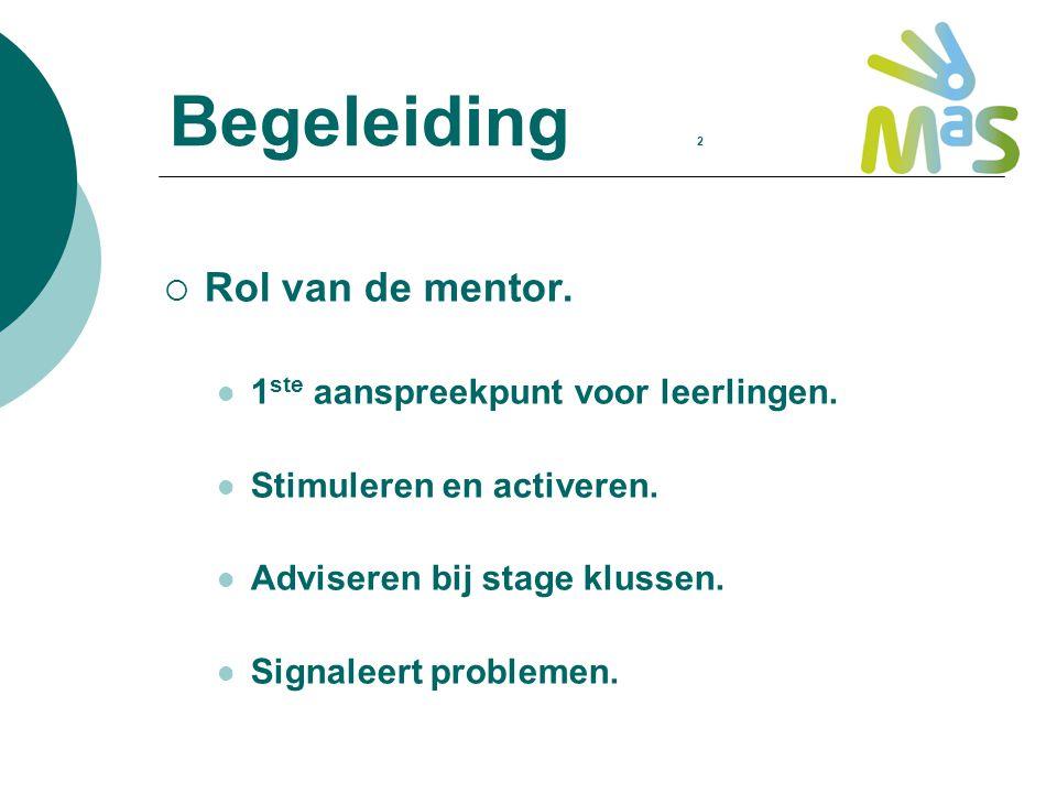 Begeleiding 2  Rol van de mentor. 1 ste aanspreekpunt voor leerlingen. Stimuleren en activeren. Adviseren bij stage klussen. Signaleert problemen.