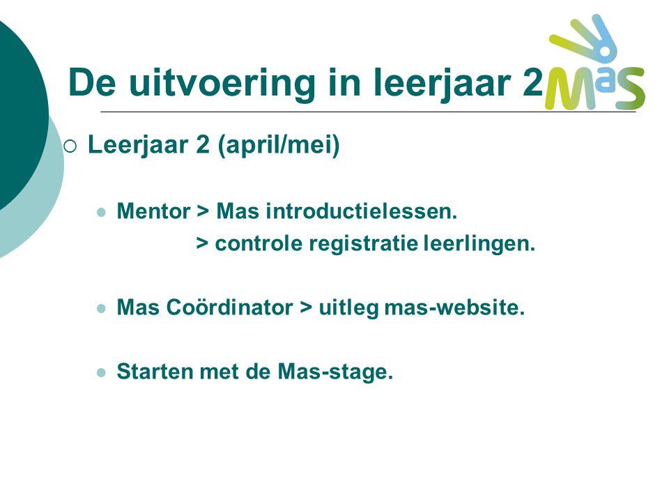De uitvoering in leerjaar 2.  Leerjaar 2 (april/mei) Mentor > Mas introductielessen. > controle registratie leerlingen. Mas Coördinator > uitleg mas-