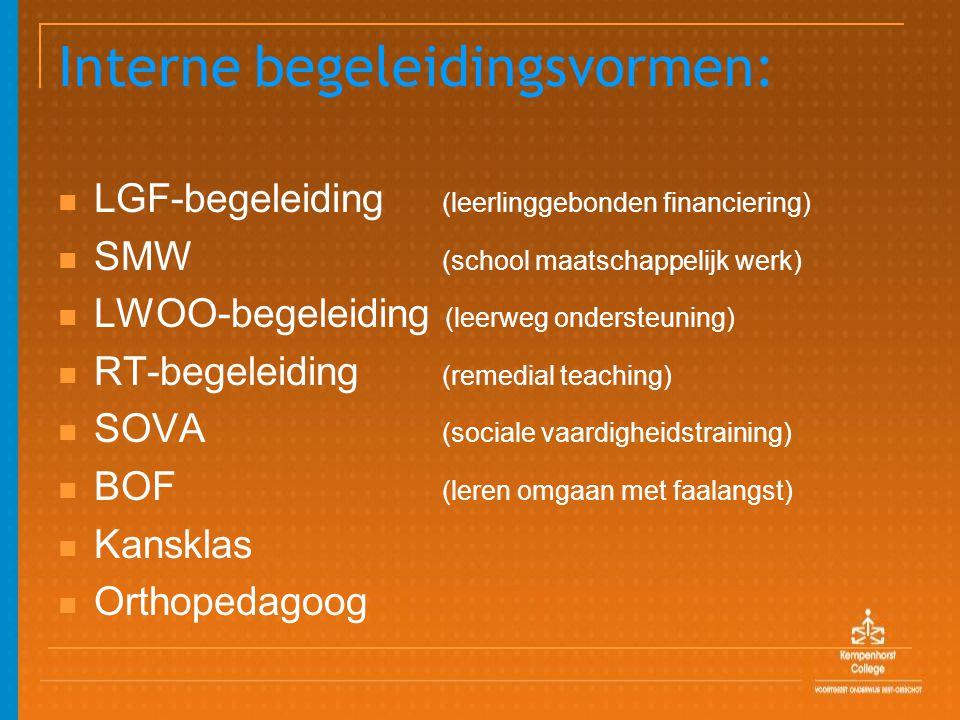 Interne begeleidingsvormen: LGF-begeleiding (leerlinggebonden financiering) SMW (school maatschappelijk werk) LWOO-begeleiding (leerweg ondersteuning) RT-begeleiding (remedial teaching) SOVA (sociale vaardigheidstraining) BOF (leren omgaan met faalangst) Kansklas Orthopedagoog