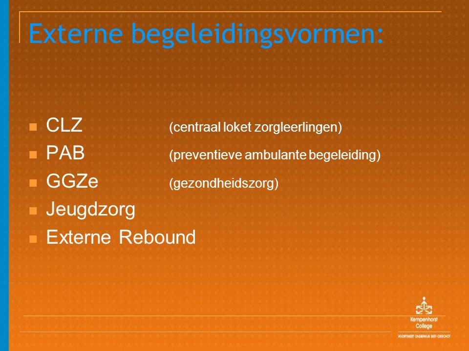 Externe begeleidingsvormen: CLZ (centraal loket zorgleerlingen) PAB (preventieve ambulante begeleiding) GGZe (gezondheidszorg) Jeugdzorg Externe Rebound