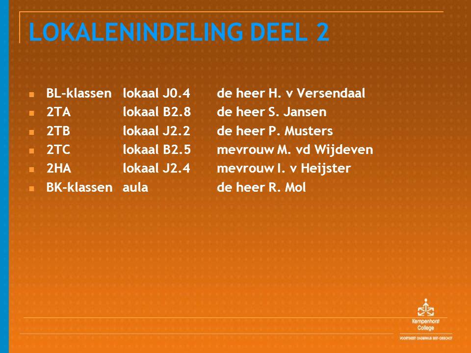 LOKALENINDELING DEEL 2 BL-klassenlokaal J0.4 de heer H. v Versendaal 2TAlokaal B2.8de heer S. Jansen 2TBlokaal J2.2de heer P. Musters 2TClokaal B2.5me