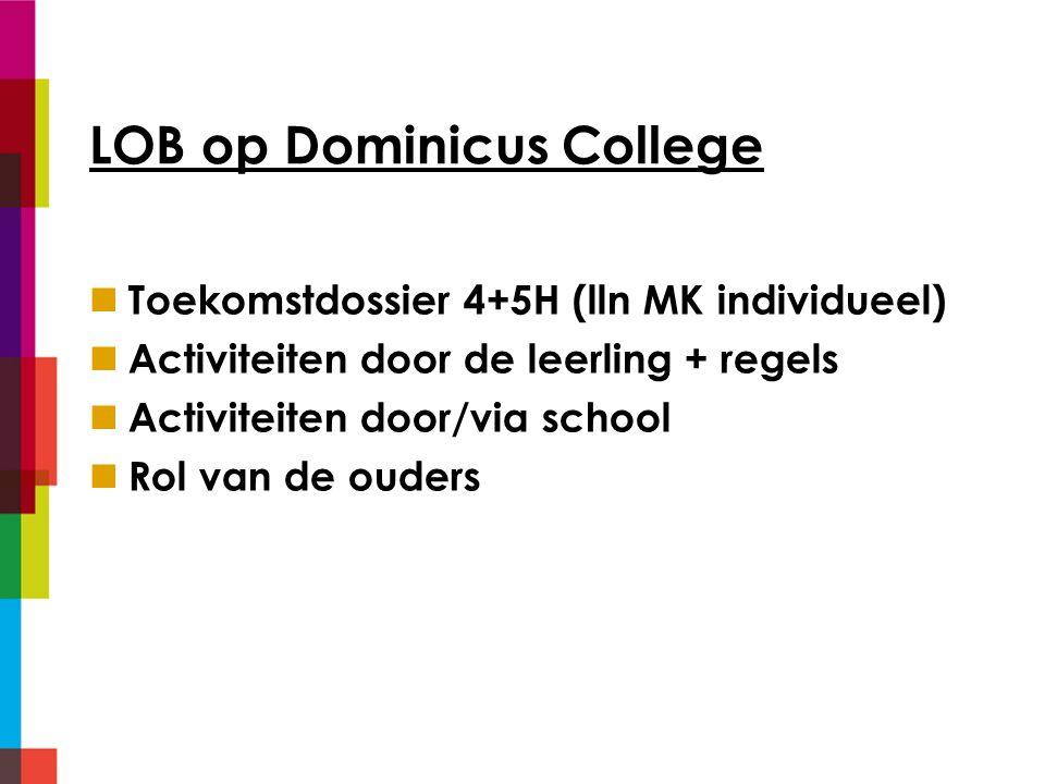 LOB op Dominicus College Toekomstdossier 4+5H (lln MK individueel) Activiteiten door de leerling + regels Activiteiten door/via school Rol van de ouders