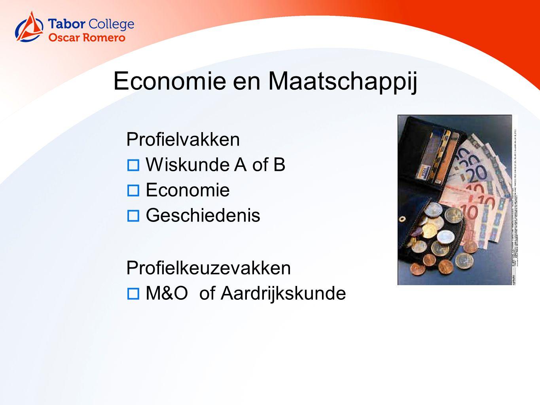 10 Economie en Maatschappij Profielvakken  Wiskunde A of B  Economie  Geschiedenis Profielkeuzevakken  M&O of Aardrijkskunde