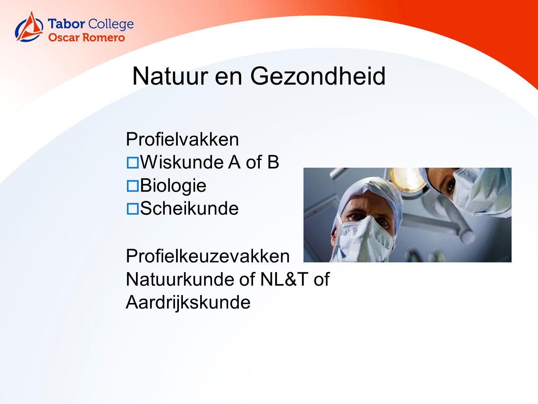 11 Natuur en Gezondheid Profielvakken  Wiskunde A of B  Biologie  Scheikunde Profielkeuzevakken Natuurkunde of NL&T of Aardrijkskunde
