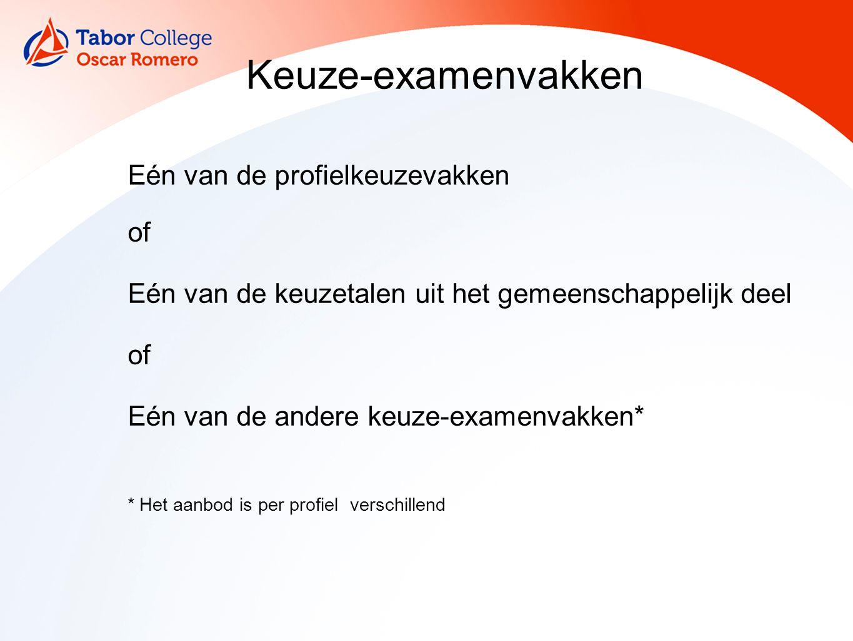 13 Keuze-examenvakken Eén van de profielkeuzevakken of Eén van de keuzetalen uit het gemeenschappelijk deel of Eén van de andere keuze-examenvakken* *