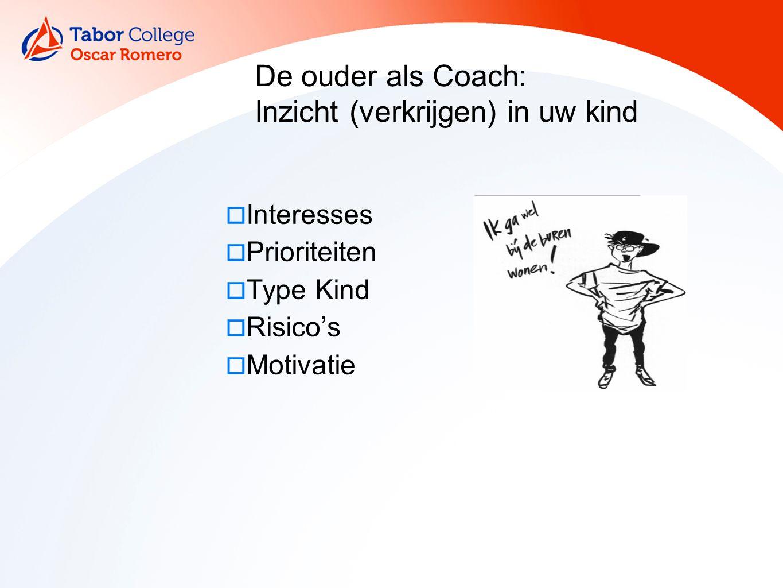 17 De ouder als Coach: Inzicht (verkrijgen) in uw kind  Interesses  Prioriteiten  Type Kind  Risico's  Motivatie