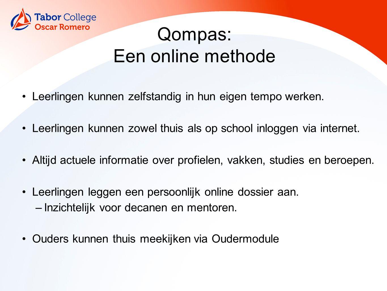 Qompas: Een online methode Leerlingen kunnen zelfstandig in hun eigen tempo werken. Leerlingen kunnen zowel thuis als op school inloggen via internet.