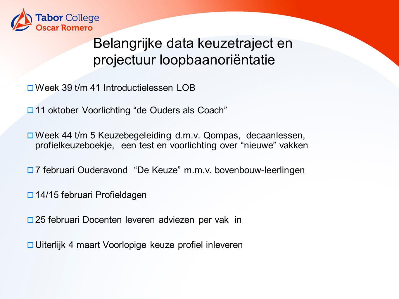  Week 39 t/m 41 Introductielessen LOB  11 oktober Voorlichting de Ouders als Coach  Week 44 t/m 5 Keuzebegeleiding d.m.v.