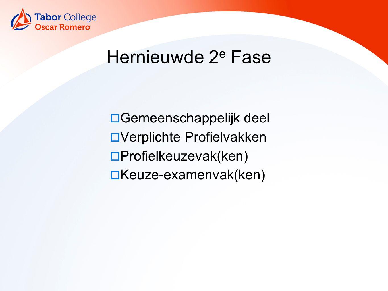 6 Hernieuwde 2 e Fase  Gemeenschappelijk deel  Verplichte Profielvakken  Profielkeuzevak(ken)  Keuze-examenvak(ken)