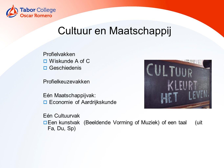 9 Cultuur en Maatschappij Profielvakken  Wiskunde A of C  Geschiedenis Profielkeuzevakken Eén Maatschappijvak:  Economie of Aardrijkskunde Eén Cult