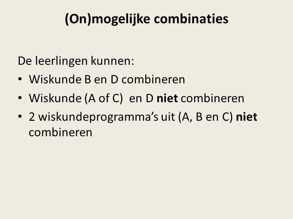 (On)mogelijke combinaties De leerlingen kunnen: Wiskunde B en D combineren Wiskunde (A of C) en D niet combineren 2 wiskundeprogramma's uit (A, B en C